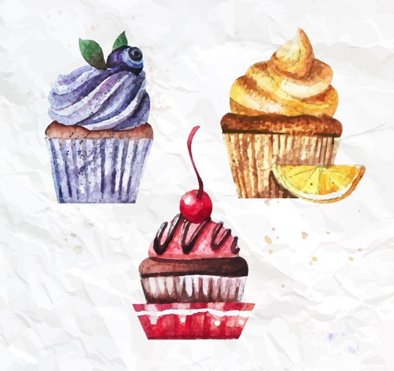 Three Watercolor Cupcakes Vector