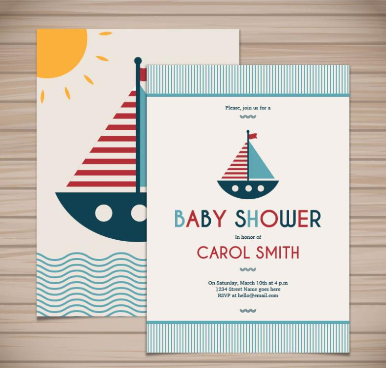 Lovely Sailing To Meet Baby Party Card Vector