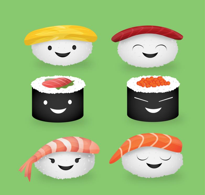Six Cute Design Of Sushi Vector