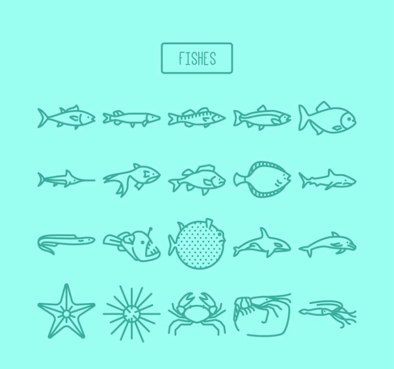20 Fish And Other Sea Creatures Vector