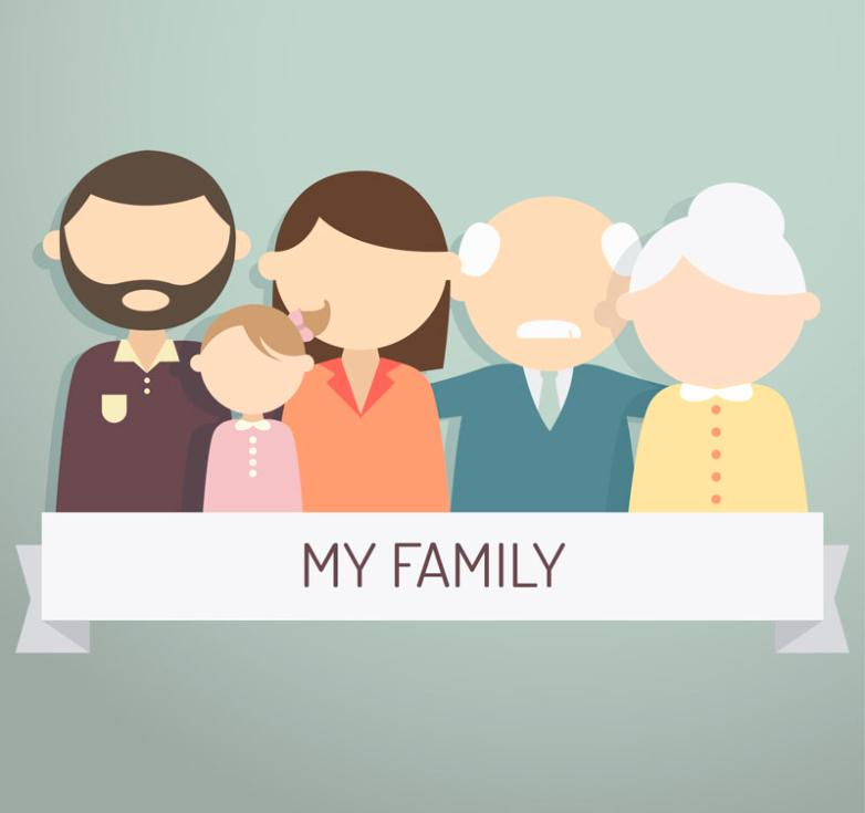 Creative Family Label Of Five People Vector
