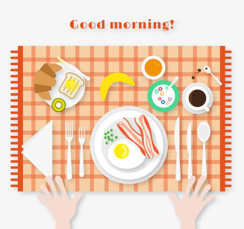 Hearty Breakfast Table Top View Vector