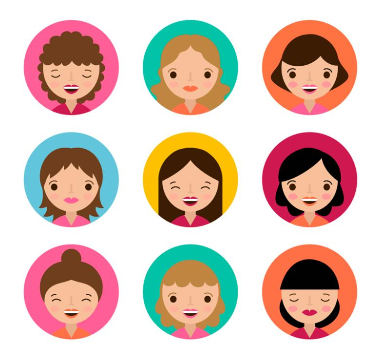 Nine Cartoon Women's Head Vector