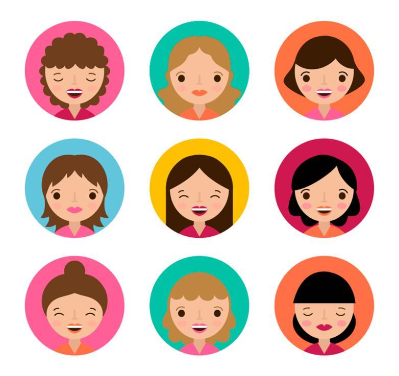 Nine Cartoon Women's Head Vector