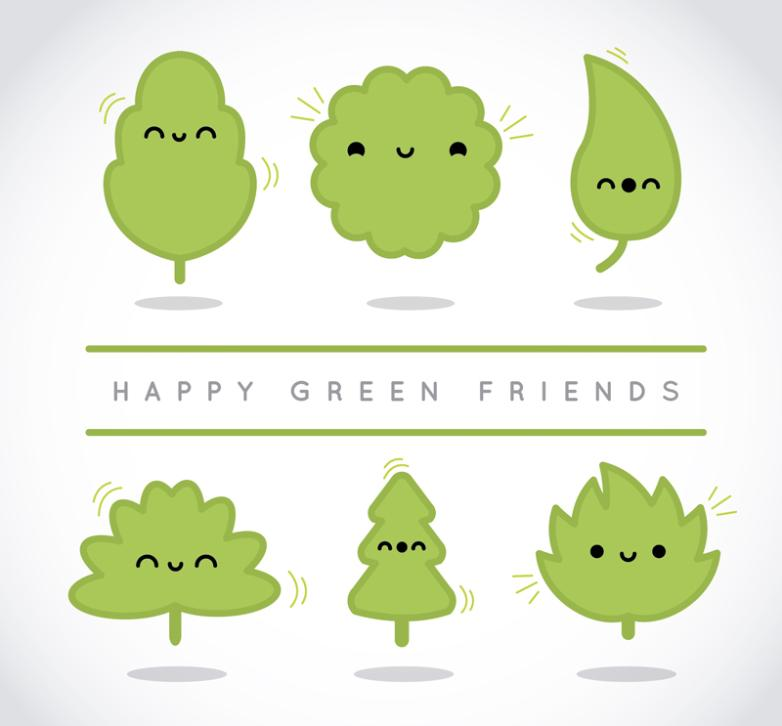 Six Cute Cartoon Green Leaves Vector