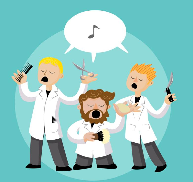 Three Cartoon Singing Barber Vector