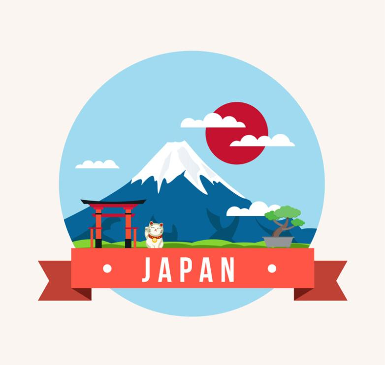 Creative Japan Fuji Mountain Scenery Illustration Vector