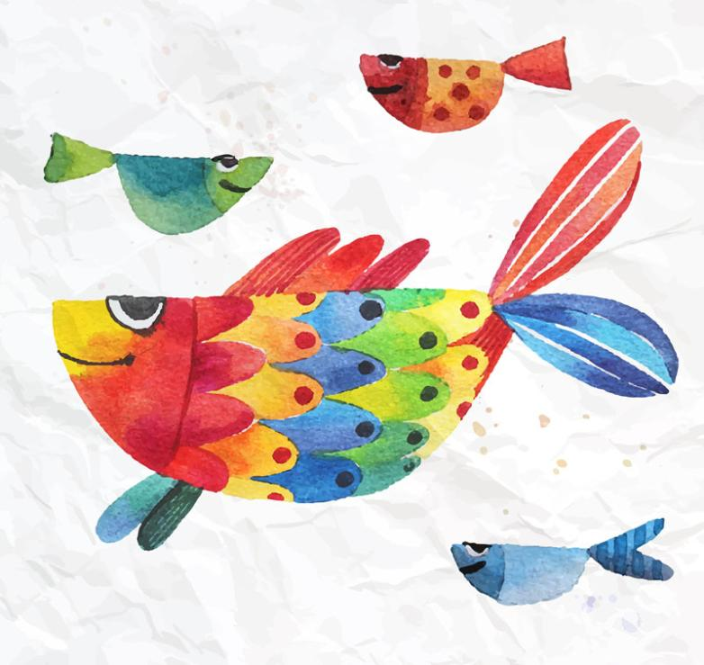 Creative Watercolor Fish Design Vector