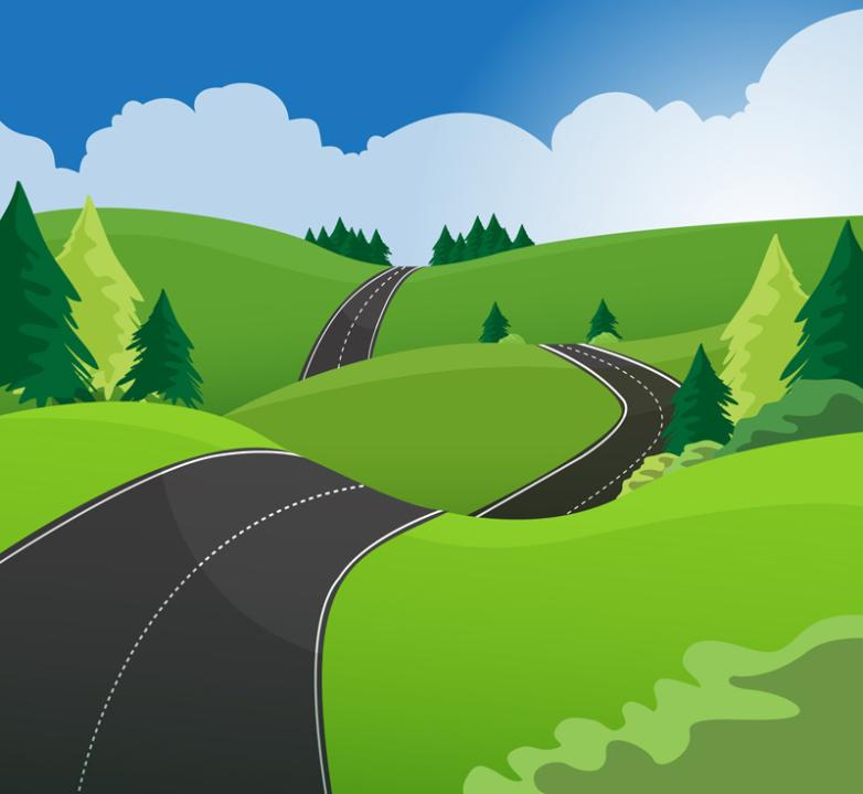 On The Outskirts Of Highway Landscape Vector