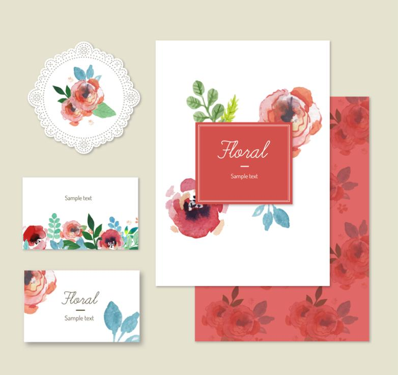 Three Watercolor Roses Card Vector