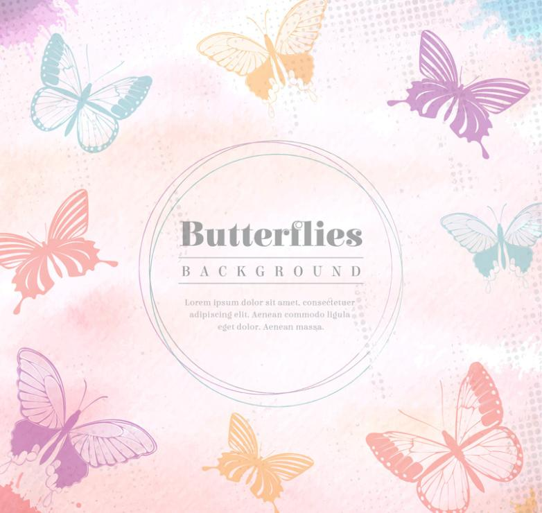 Colorful Watercolor Butterfly Background Vector