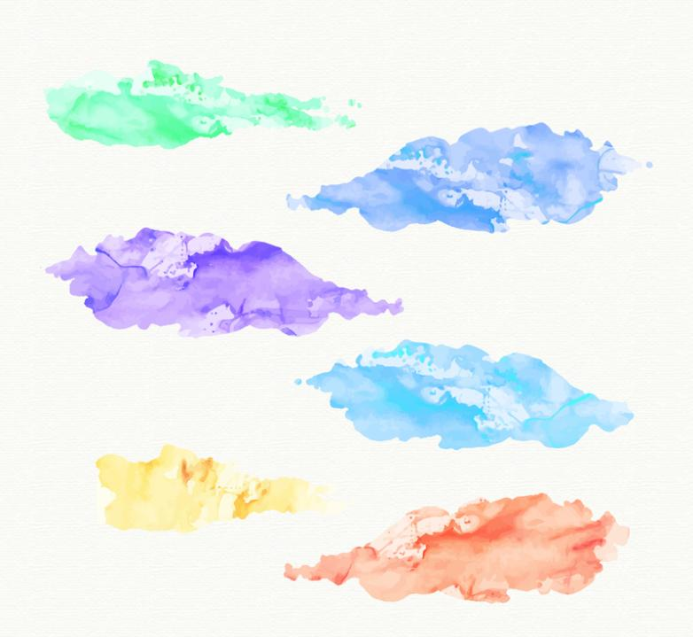 Six Creative Watercolor Clouds Vector