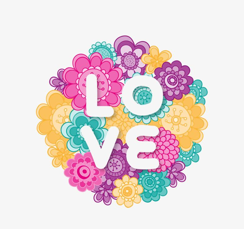 Cartoon Flowers Love Art Word Vector