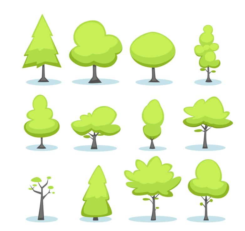12 Cartoon Green Trees Vector