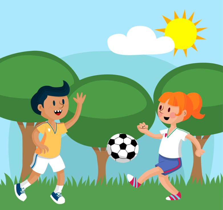 Boys And Girls Playing Football Vector