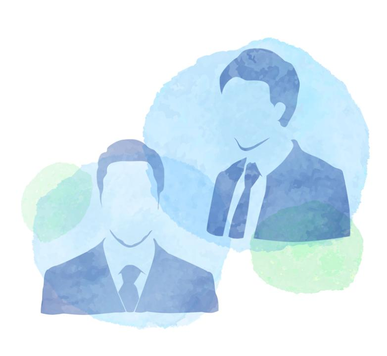 Two Watercolor Man Face Silhouette Vector