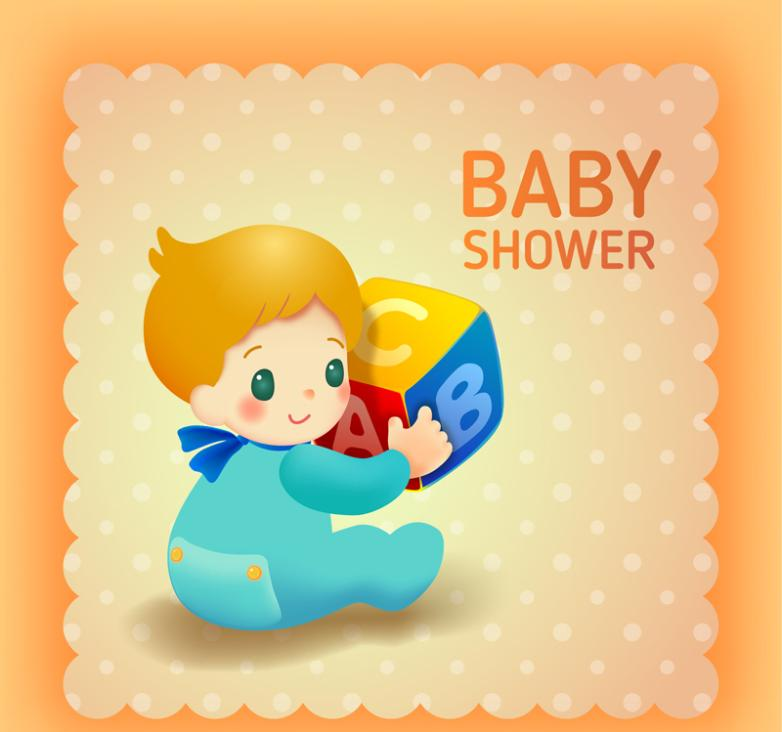 Lovely Blonde Baby Baby Showers Party Card Vector