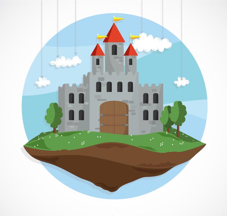 Cartoon Suspended Fairy Tale Castle Vector