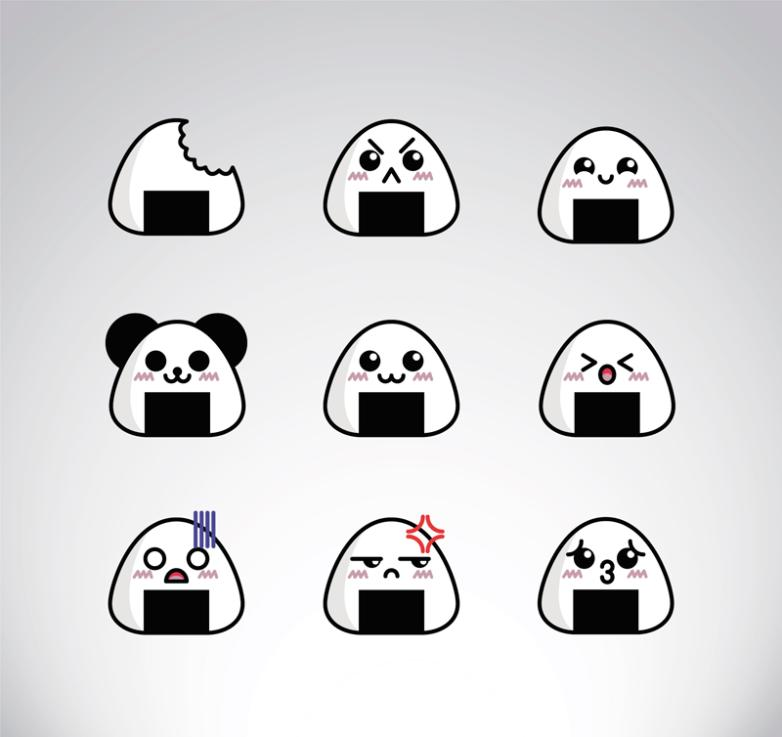 Nine New Cute Triangle Rice Ball Emoticons Vector