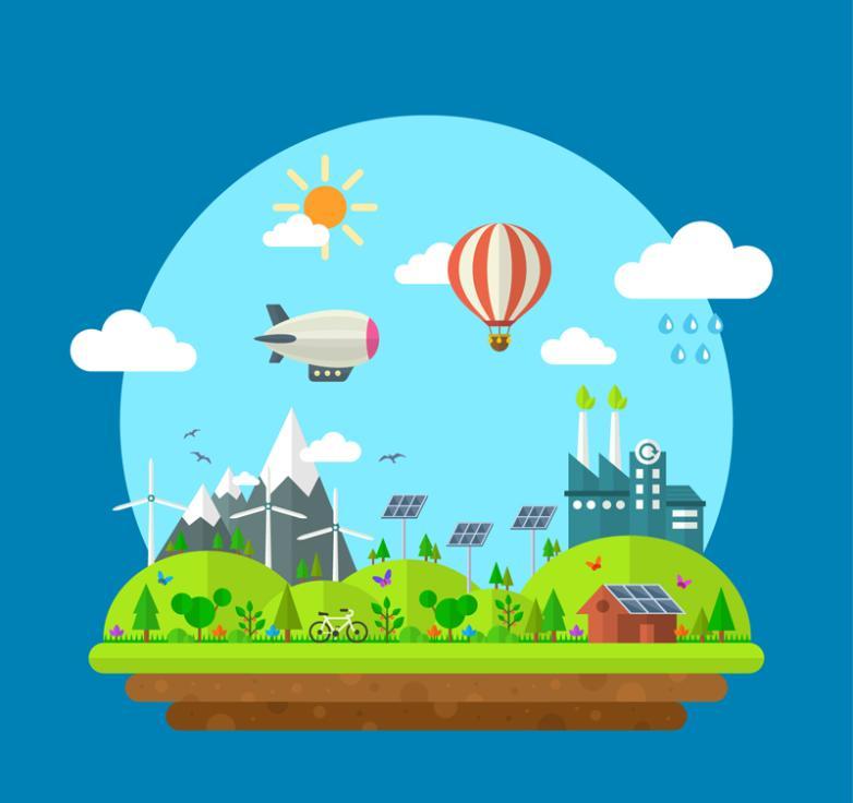 Cartoon Energy-saving Green City Vector