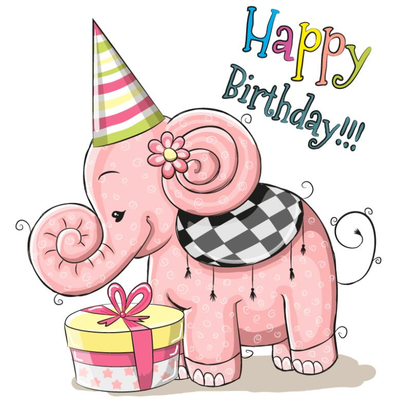 Pink Elephants Birthday Cards Vector