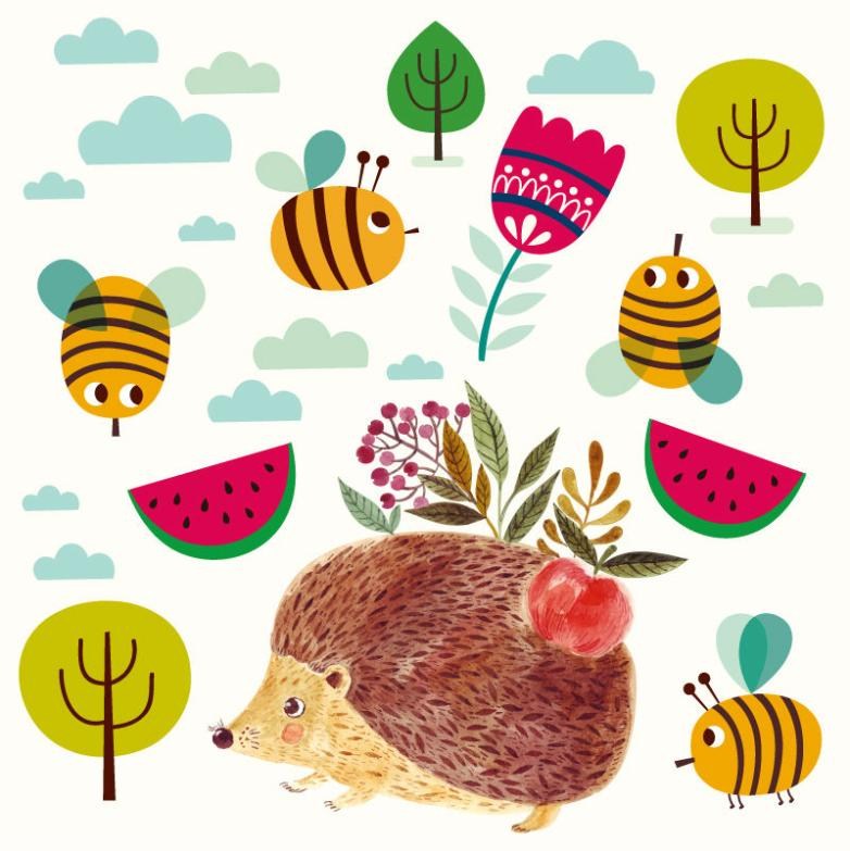 Lovely Watercolors Hedgehog And The Bees Vector