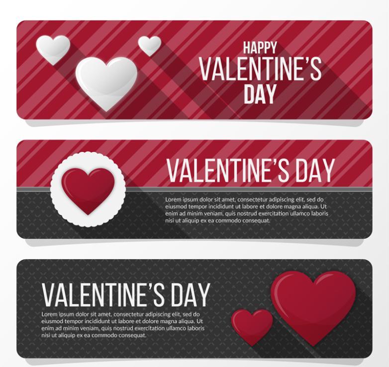 Valentine's Day Love Banner 3 Model Vector