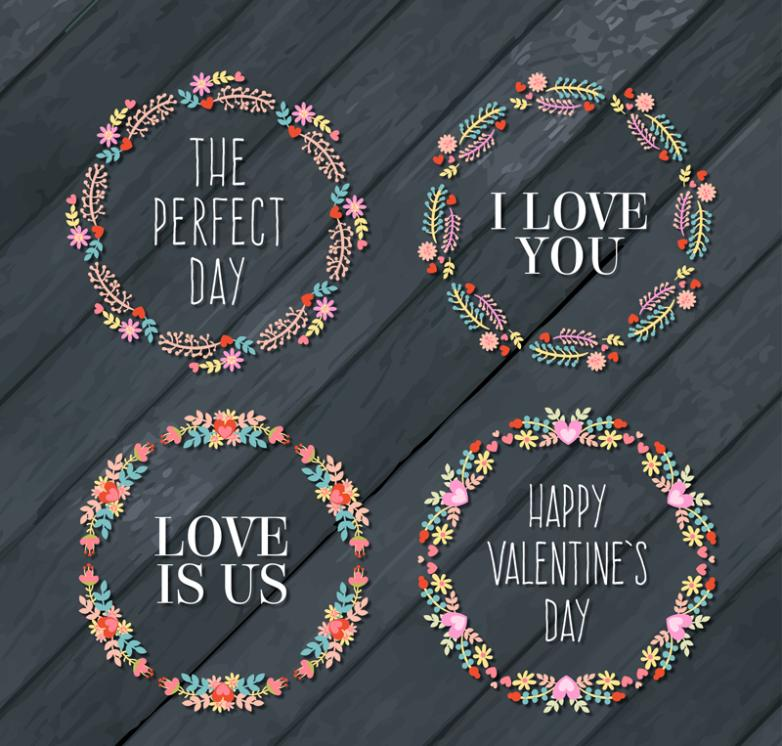 4 Wreaths Creative Valentine's Day Vector