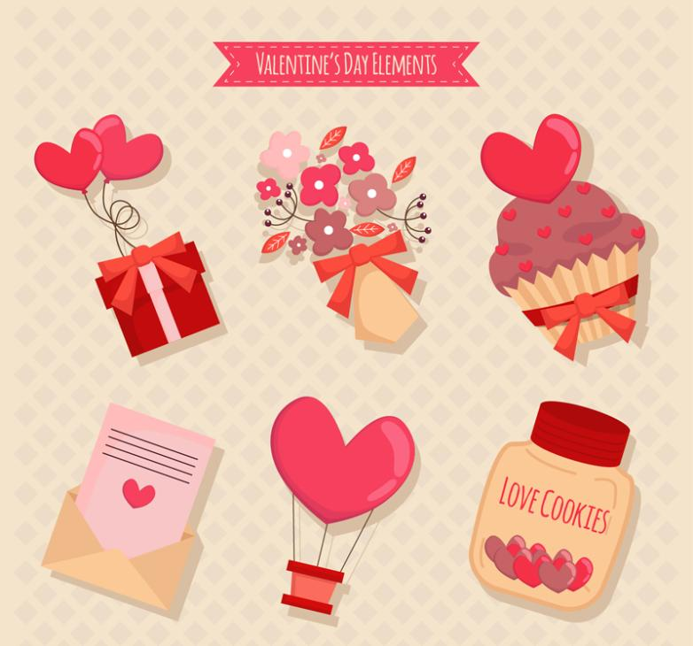 Element Six Delicate Valentine's Day Vector