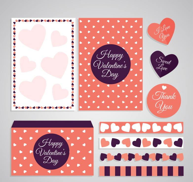 Eight Valentine's Day Cards And Decorations Vector