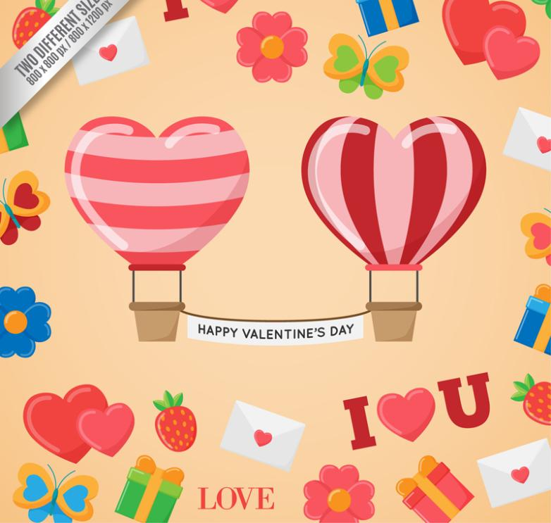 Creative Love Balloon Cards Vector