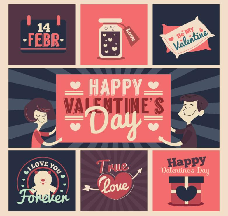 7 Retro Valentine's Cards Vector