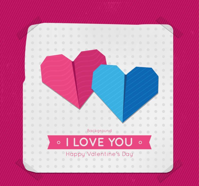 Creative Origami Love Valentine's Day Cards Vector