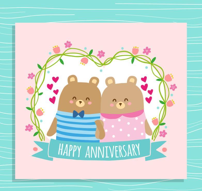 Lovely Couple Bear Anniversary Card Vector