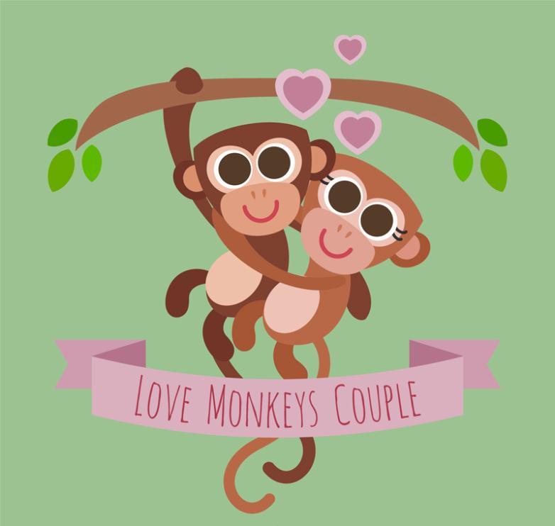 Lovely Couple Monkey Vector