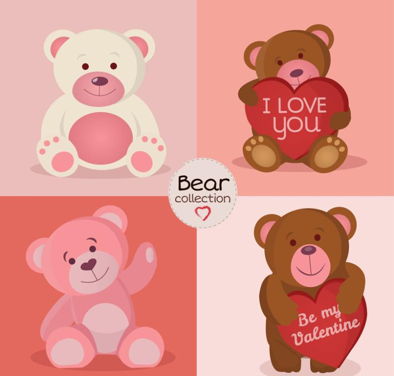 4 Lovely Cartoon Teddy Bear Vector