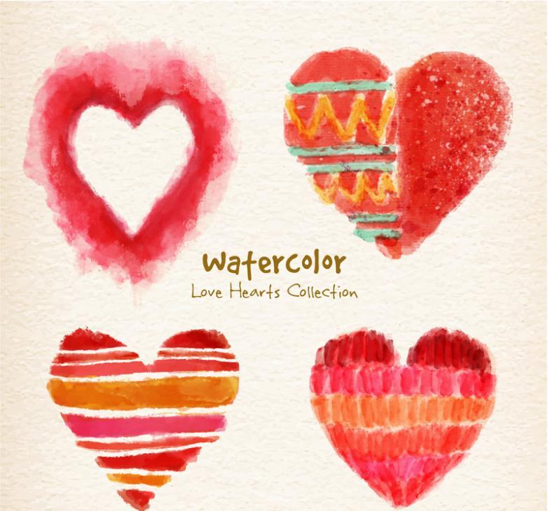4 Watercolor Love Design Vector