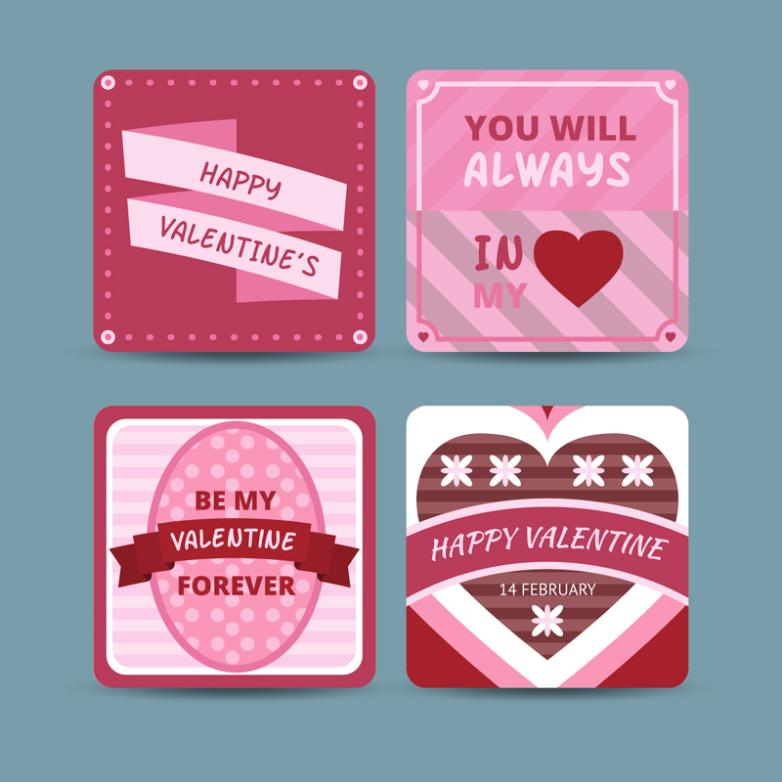 4 Creative Rounded Valentine's Day Cards Vector