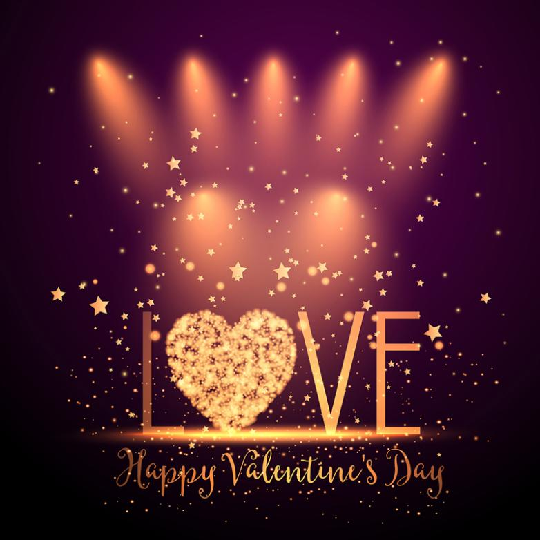 Golden Word Valentine's Love Of Art Vector