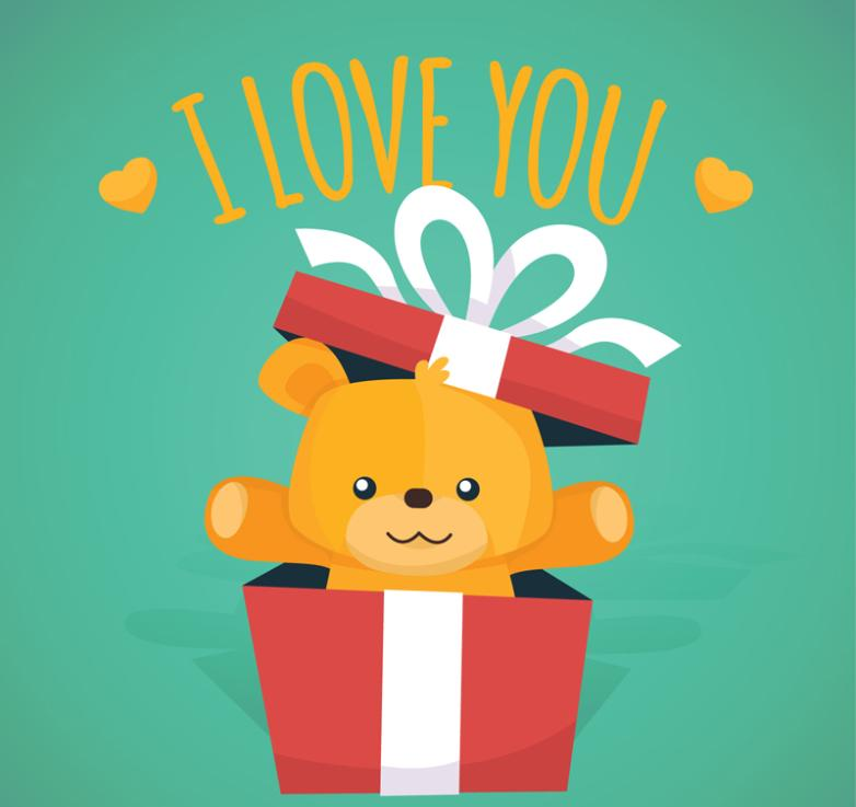 Lovely Gift Box Bear Vector