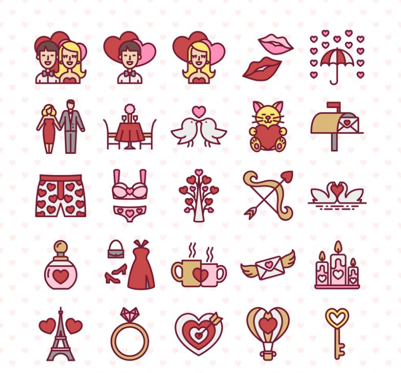 Icon 25 Creative Valentine's Day Vector