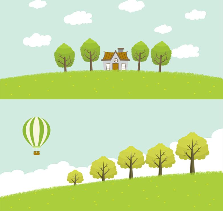 2 Set Of Green Countryside Scenery Vector