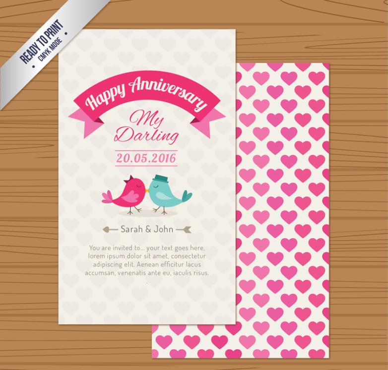 Cartoon Love Anniversary Invitation Cards Vector