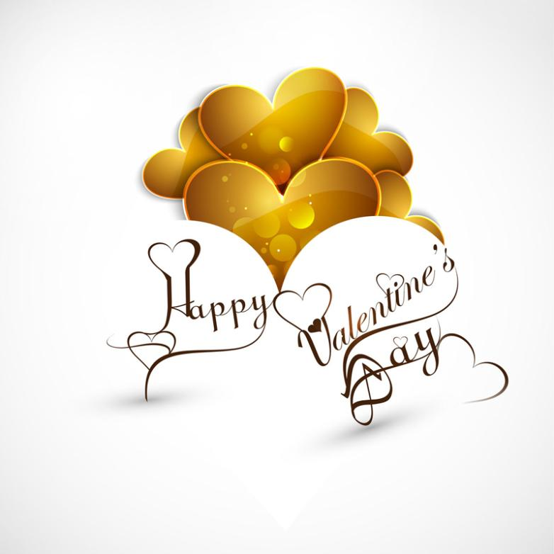 Golden Love Valentine's Day Cards Vector