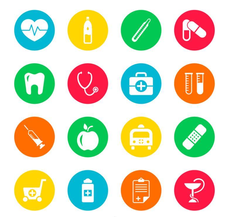 16 Color Round Medical Icon Vector