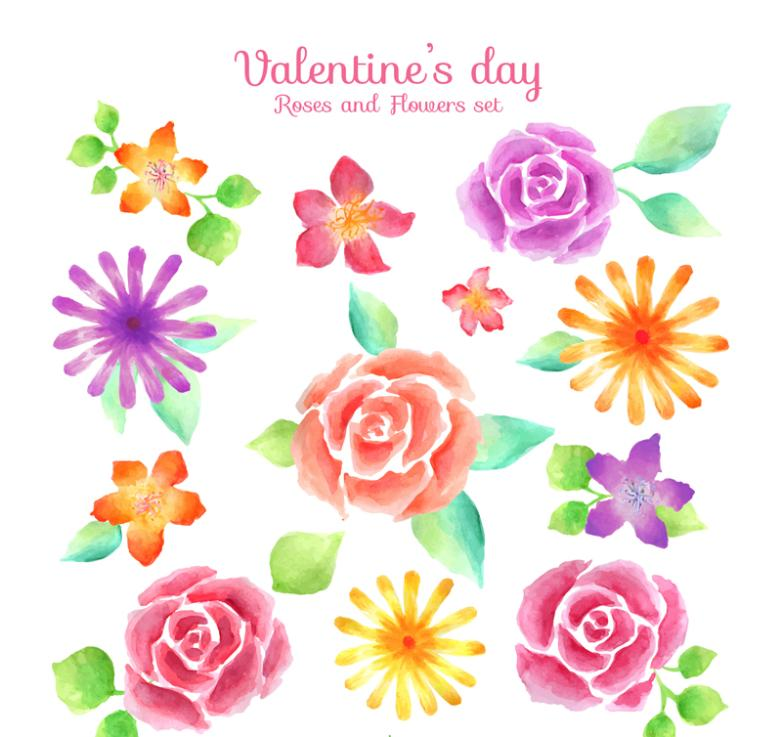 12 Water Painted Flowers On Valentine's Day Vector