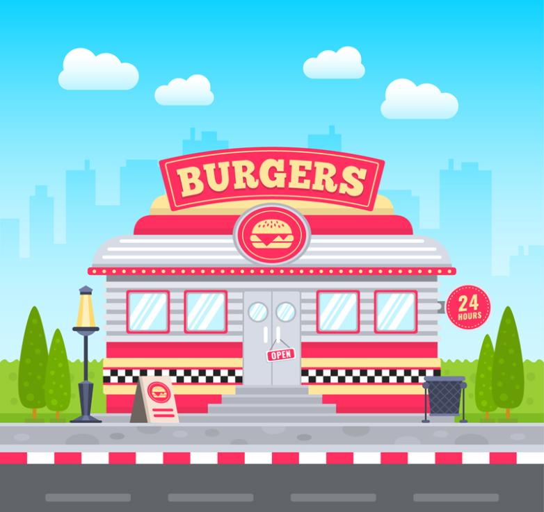 Cartoon Hamburger Shop 24 Hours A Day Vector