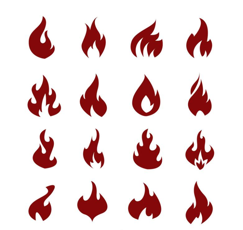 16 Flame Icons Vector