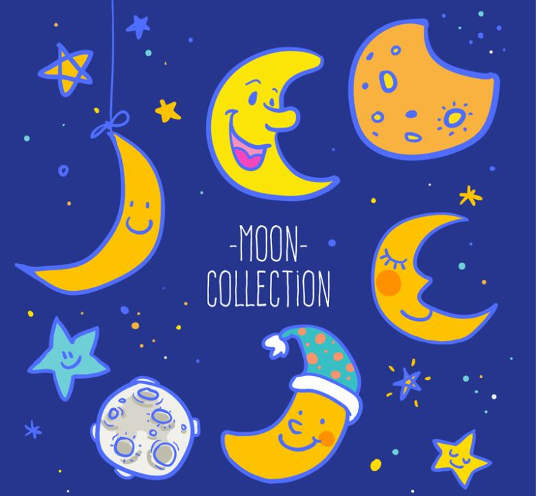 Six Cartoon Moon Vector