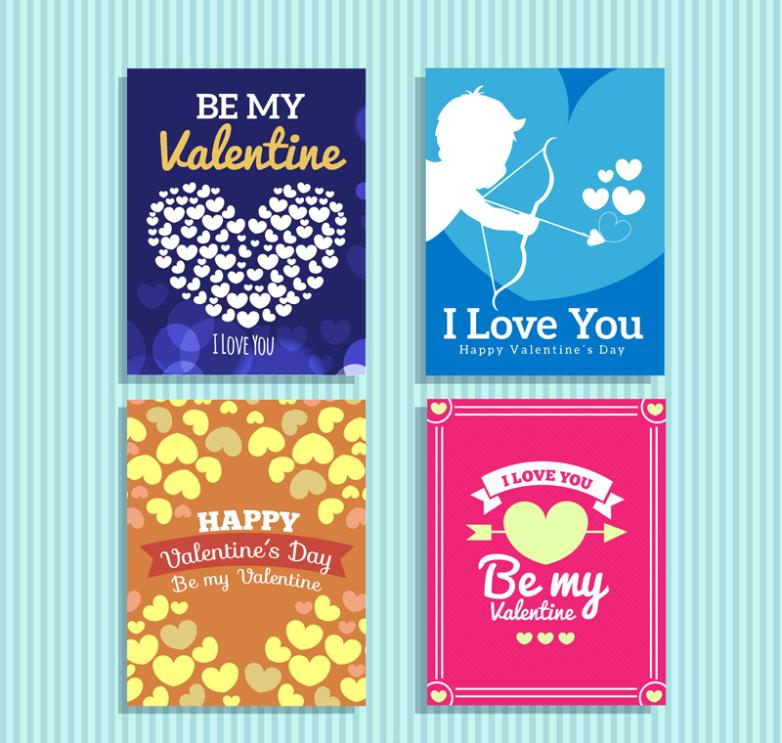 4 Fashion Valentine's Day Cards Vector